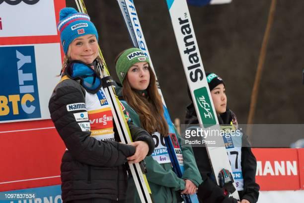 LJUBNO SLOVENIA LJUBNO SAVINJSKA SLOVENIA Top three of last competition day of the FIS Ski Jumping World Cup Ladies Ljubno on on podium in Ljubno...