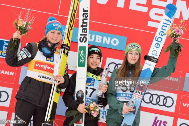 LJUBNO SLOVENIA LJUBNO SAVINJSKA SLOVENIA Top three of last competition day of the FIS Ski Jumping World Cup Ladies Ljubno on on podium in Ljubno...