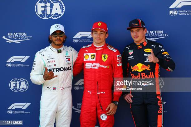 Top three qualifiers Charles Leclerc of Monaco and Ferrari Lewis Hamilton of Great Britain and Mercedes GP and Max Verstappen of Netherlands and Red...