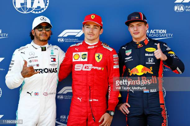 Top three qualifiers Charles Leclerc of Monaco and Ferrari, Lewis Hamilton of Great Britain and Mercedes GP and Max Verstappen of Netherlands and Red...