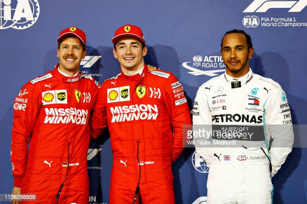 Top three qualifiers Charles Leclerc of Monaco and Ferrari Sebastian Vettel of Germany and Ferrari and Lewis Hamilton of Great Britain and Mercedes...
