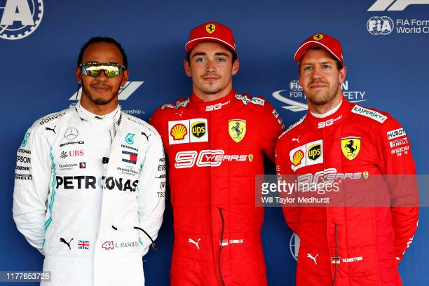 Top three qualifiers Charles Leclerc of Monaco and FerrariLewis Hamilton of Great Britain and Mercedes GP and Sebastian Vettel of Germany and Ferrari...