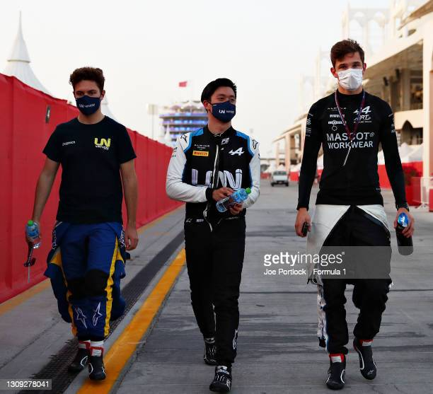 Top three qualifiers Guanyu Zhou of China and UNI-Virtuosi Racing Christian Lundgaard of Denmark and ART Grand Prix and Felipe Drugovich of Brazil...