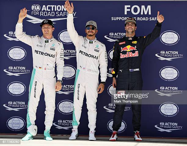 Top three qualifiers Lewis H milton of Great Britain and Mercedes GP Nico Rosberg of Germany and Mercedes GP and Daniel Ricciardo of Australia and...