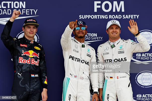 Top three qualifiers Lewis Hamilton of Great Britain and Mercedes GP Nico Rosberg of Germany and Mercedes GP and Max Verstappen of Netherlands and...