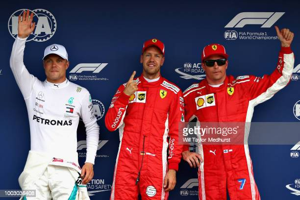 Fans of Sebastian Vettel of Ferrari and Germany during qualifying for the Formula One Grand Prix of Germany at Hockenheimring on July 21 2018 in...