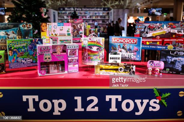 Top toys are displayed at a 'Dream Toys' event to unveil the top twelve toys this Christmas on November 14 2018 in London England The Toy Retailers...