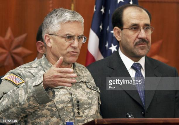 Top US commander in Iraq Gen George Casey speaks to the media after Iraqi Prime Minister Nouri alMaliki announced the news that Abu Musab alZarqawi...