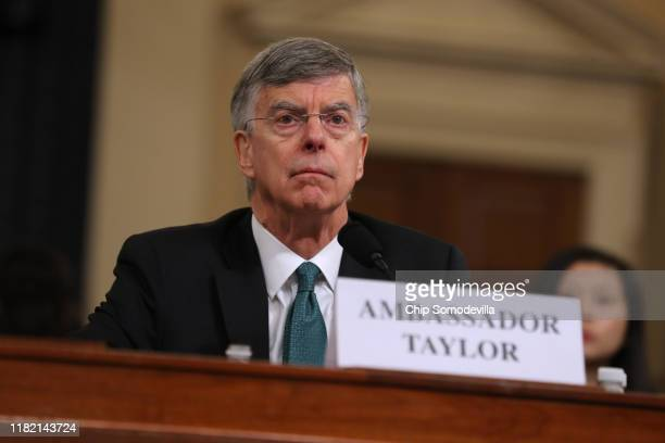 Top US diplomat in Ukraine William B Taylor Jr waits to testify before the House Intelligence Committee in the Longworth House Office Building on...