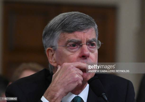 Top US diplomat in Ukraine William Taylor testifies before the House Intelligence Committee on Capitol Hill in Washington DC on November 13 during...