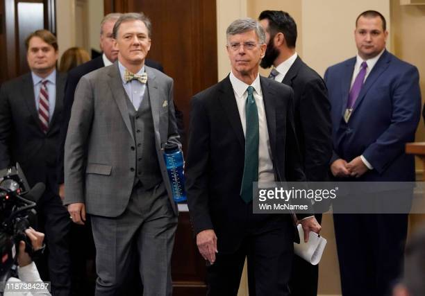 Top US diplomat to Ukraine William B Taylor and Deputy Assistant Secretary for European and Eurasian Affairs George P Kent arrive for testimony...
