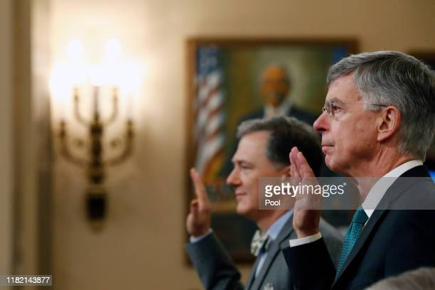 Top US diplomat to Ukraine William B Taylor Jr and Deputy Assistant Secretary for European and Eurasian Affairs George P Kent are sworn in to testify...