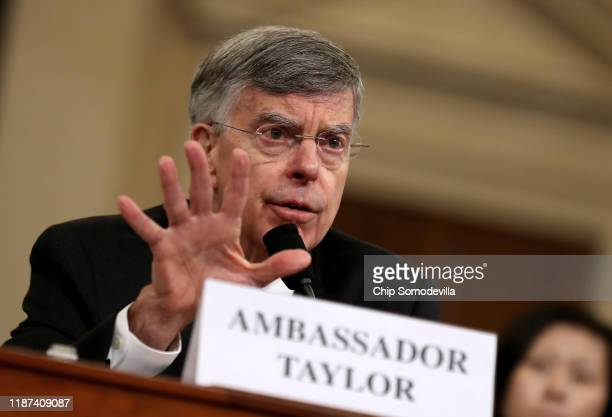 Top US diplomat to Ukraine William B Taylor Jr testifies before the House Intelligence Committee in the Longworth House Office Building on Capitol...