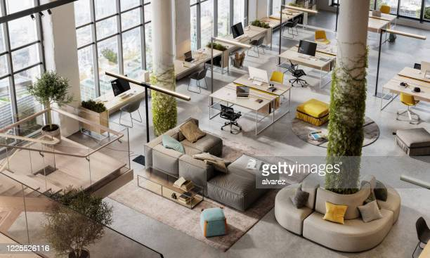top view 3d image of a environmentally friendly office space - office stock pictures, royalty-free photos & images