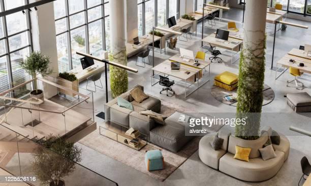 top view 3d beeld van een milieuvriendelijke kantoorruimte - kantoor stockfoto's en -beelden