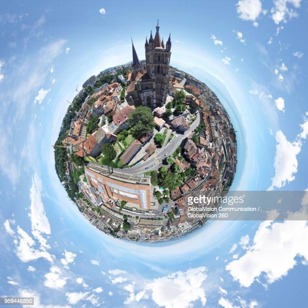 360° top view above lausanne cathedral in lausanne, switzerland - lausanne stock pictures, royalty-free photos & images