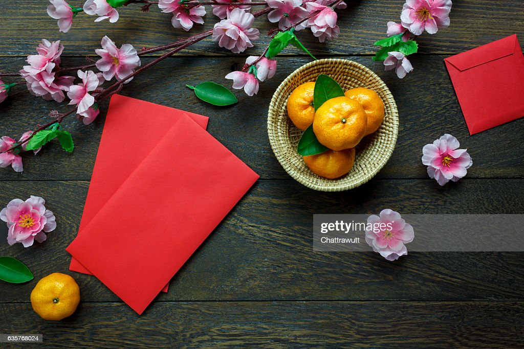 Top view accessories Chinese new year festival decorations. : Stock Photo