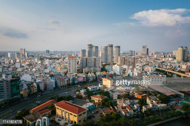 top view aerial of saigon skyline ho chi minh city new residential area near thu thiem - thiem stock pictures, royalty-free photos & images