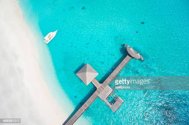 top view aerial sandy beach lagoon footbridge