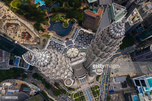 top view aerial scene of kuala lumper malaysia skyline petronas twin tower in morning day time - petronas towers stock pictures, royalty-free photos & images