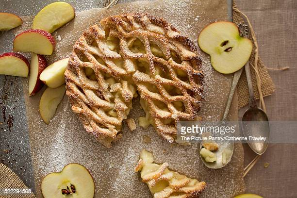 Top view, apple pie lattice with fresh apples