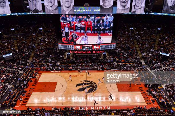 Top view at the basketball court during the Toronto Raptors vs Brooklyn Nets NBA regular season game at Scotiabank Arena on February 11 in Toronto,...