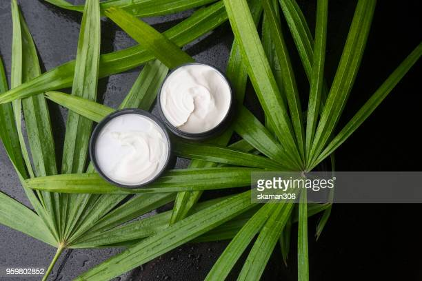 top view beauty cream with green leaves and wet background