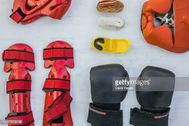 top view boxing equipment - protective sportswear stock pictures, royalty-free photos & images