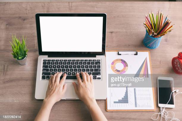 top view business woman typing laptop