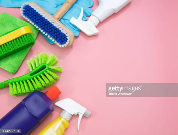 top view cleaning set tool service on pink background - cleaning equipment stock pictures, royalty-free photos & images