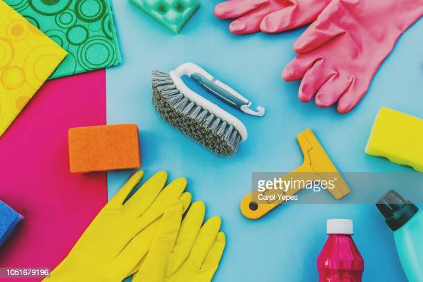 top view collection of cleaning supplies - cleaning agent stock pictures, royalty-free photos & images