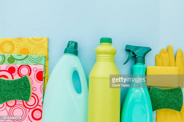 top view collection of cleaning supplies - dishwashing liquid stock photos and pictures