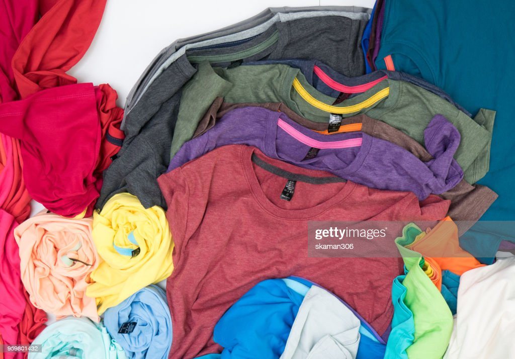 top view colourful t-shirt collage and compose : Stock-Foto