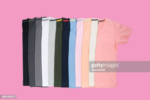 top view colourful t-shirt collage and compose