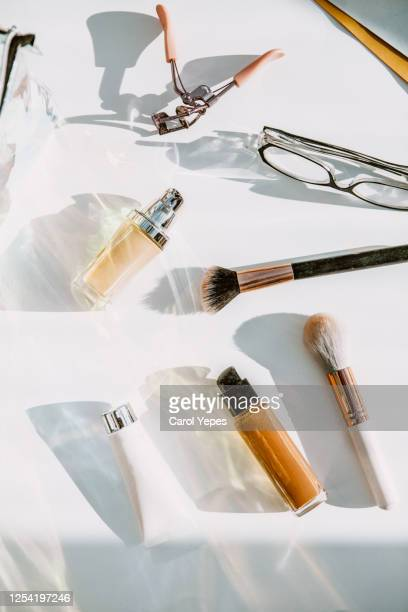 top view cosmetic make-up bag with beauty products - cosmetics stock pictures, royalty-free photos & images