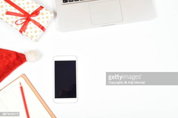 Top view desk of business with copy space and Christmas festival theme background