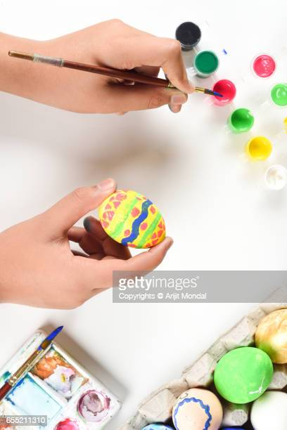 Top View Easter Holidays Picture of Easter Egg Hunt Preparation