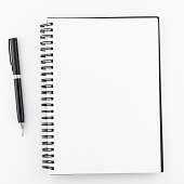 Top view, empty notebook on a white background.