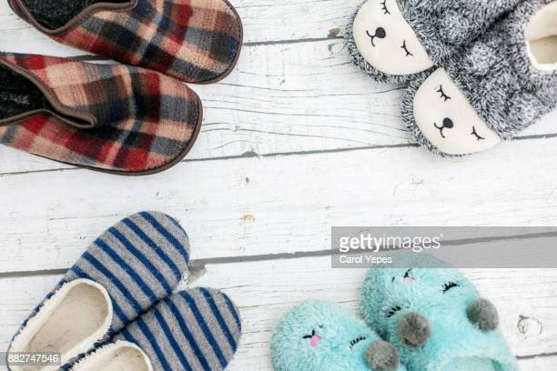 top view family slippers - スリッパ ストックフォトと画像