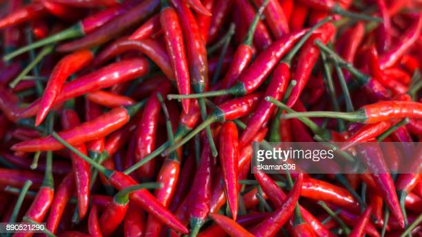 top view fresh  chilli on table at fresh market - chili pepper stock pictures, royalty-free photos & images