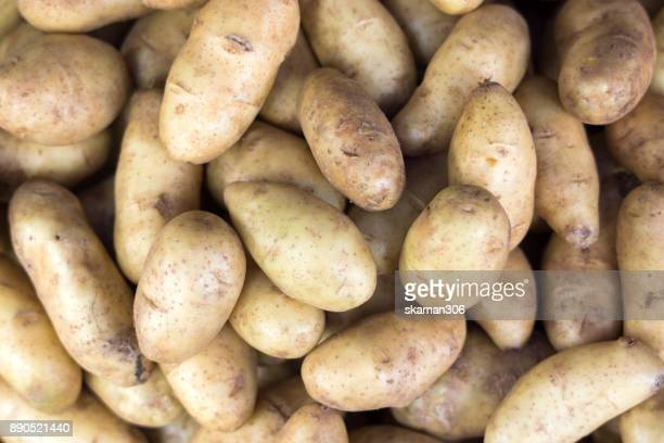 top view fresh organics potato