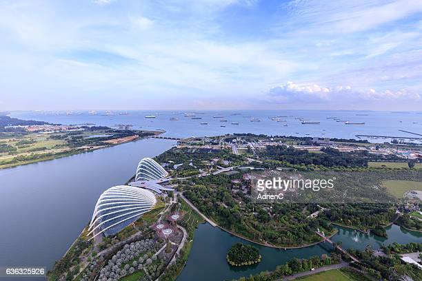 top view gardens by the bay - singapore botanic gardens stock photos and pictures