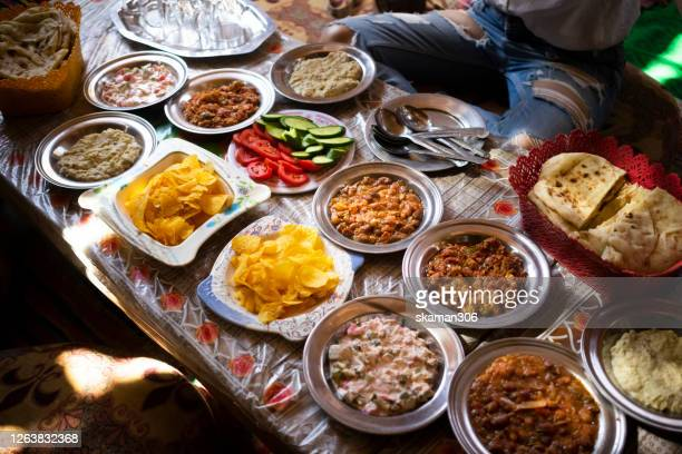 top view group of variety  local egyptian foods on the table - egypt stock pictures, royalty-free photos & images