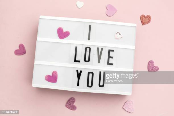top view i love your message in lightbox - i love you stock pictures, royalty-free photos & images