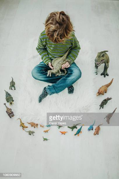 top view image of boy playing dinosaurs toys - toy animal stock photos and pictures