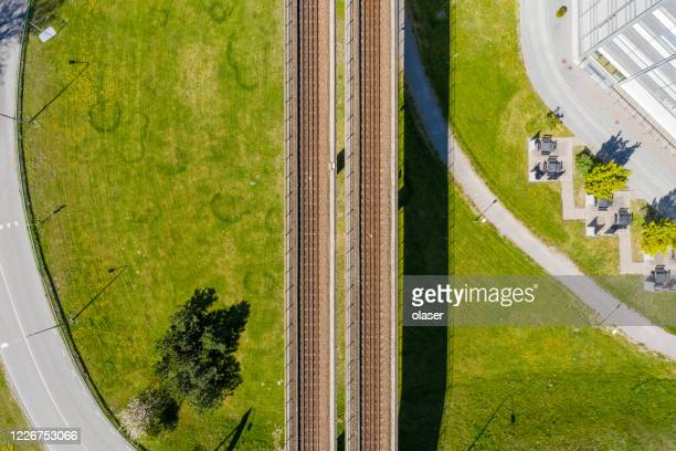 top view kista subway tracks bridge, stockholm - stockholm stock pictures, royalty-free photos & images