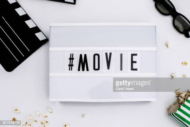 top view lightbox with  movie message and movie items