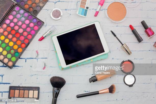 top view makeup and tablet