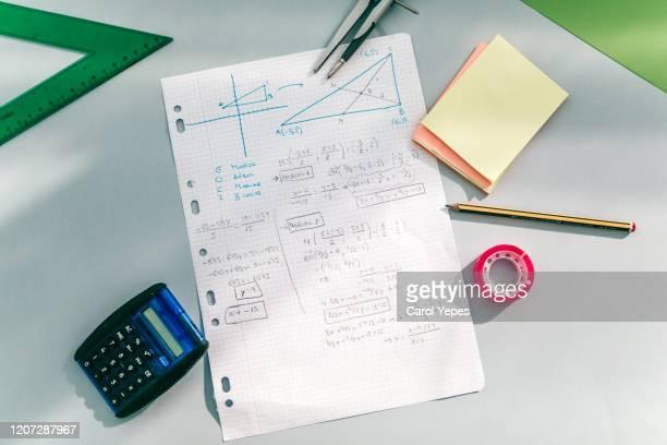 top view maths student notes - 数学記号 ストックフォトと画像