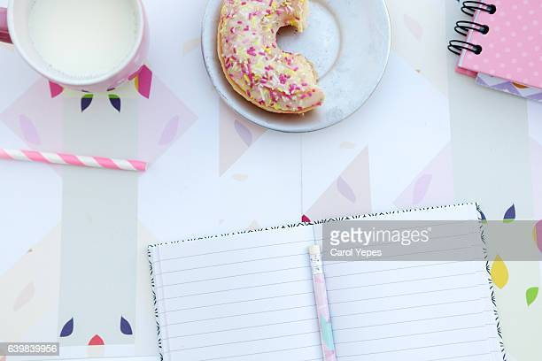 top view milk and pink donuts - femininity stock pictures, royalty-free photos & images